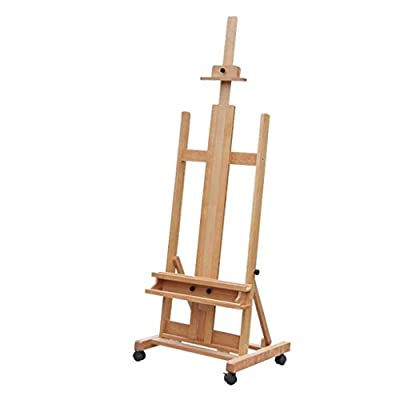 Hong Jie Yuan Easel - Solid Wood Liftable Oil Painting Easel Sketching Board Sturdy Beech Display Stand Collapsible Folding Outdoor Art Easel - Easy to Assemble