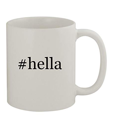 #hella - 11oz Sturdy Hashtag Ceramic Coffee Cup Mug, White