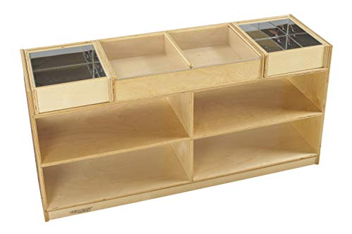 (Childcraft 1464159 Science Exploration Table with Mirrored Trays Mobile, Wood, 47-3/4