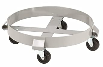 """E.R. Wagner 2F00 Powder Coated 4-Wheel 55 Gallon Drum Dolly with Solid Polyolefin Wheel Casters, 1000 lbs Capacity Range, 6-1/2"""" Height"""