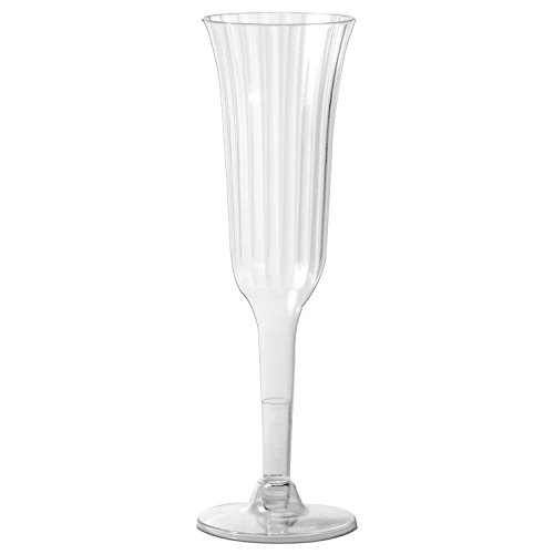 Party Essentials N61021 2 Piece Deluxe Champagne Flutes, 6 oz., Clear (Pack of 120)