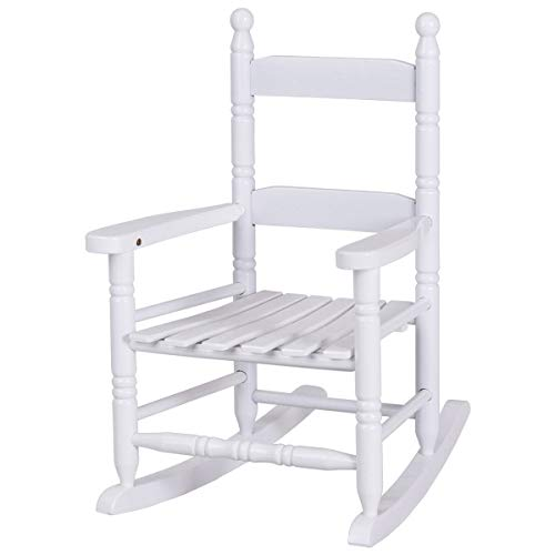Blessing2220 Classic Kids Rocking Chair, Porch Rocker, Indoor or Outdoor, Suitable for 1 to 4 Years Old, Wood (White)