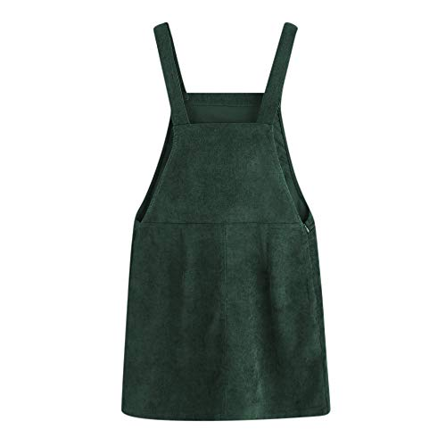 Women Corduroy Straight Suspender Ladies Dress Mini Bib Overall Pinafore Casual Pocket Dress (S, A) ()