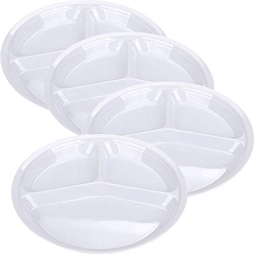 Divided Plates Plastic Dinner (AIYoo Reusable Dinner Plates, 4 Pack BPA Free 10.25'' Plastic Divided Plates for Adults/Kids Camping Plate with 3-Compartment White Dinner Plates with Dividers Dishwasher Safe)