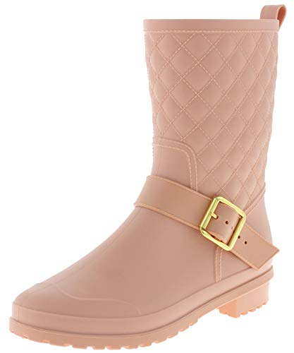 Capelli New York Ladies Matte, Quilted Shaft Mid-Calf Rain Boot with Ankle Strap Blush ()
