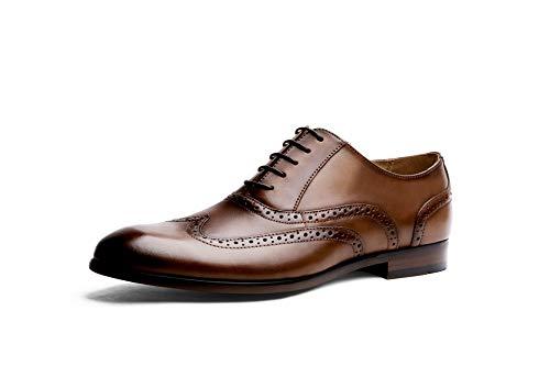 Formales Hombres Completo Vestir de Color para Grano de Bullock Black 42 Retros Zapatos Cuero de XZP Brown Size EU Oxford tallados británicos los del Zapatos pqwUY0f