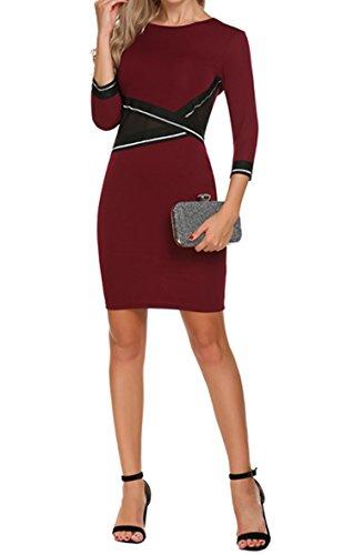 Damen Etuikleid Cocktailkleid mit der Stil Patchwork 3/4 Ämel Kleid ...
