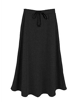 IDEALSANXUN Women's Autumn Winter Fleece Lined Drawstring Elastic Waist A-Line Soft Skirt