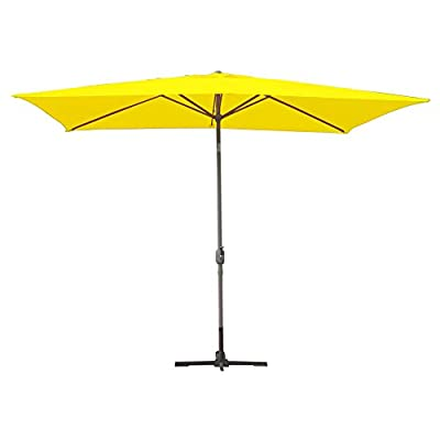 Jeco Inc. Aluminum Patio Market Umbrella Tilt with Crank, Fabric & Black Pole, Yellow, 6.5' x 10' - Black Aluminum Pole, Powder coating Canopy is made of high quality polyester Pole: 1.49 in. D, 8 ribs - shades-parasols, patio-furniture, patio - 31EUlQNKxNL. SS400  -