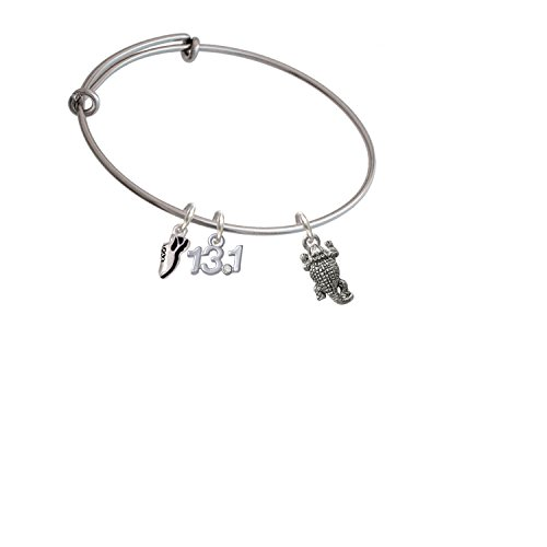 Silvertone Horn Toad Running Shoe and 13.1 Expandable Bangle Bracelet