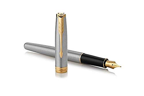 (PARKER Sonnet Fountain Pen, Stainless Steel with Gold Trim, Medium Nib)