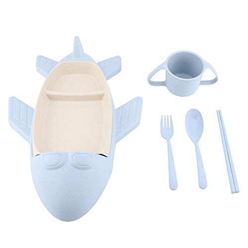 5pcs/set Wheat Straw Plates Kids Tableware Set Includes Aircraft-shaped Dinner Plate Cup Spoon Fork and Chopsticks for Children Use Gift(Blue) ()