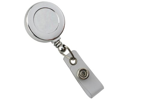 Chrome (Plastic) Badge Reel w/ Clear Vinyl Strap & Belt Clip (25/Pkg)