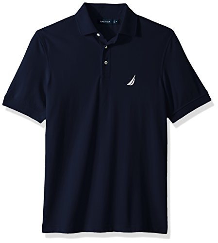 Nautica Men's Short Sleeve Solid Stretch Cotton Pique Polo Shirt, Navy, (Solid Stretch Pique Polo)