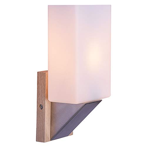 OYI Modern Wall Sconces, 1 Light Wall Mounted Lamp Modern Room Decor Rectangular Shade Wood Base Chic Indoor Living Room Bedroom Wall Light Fixture
