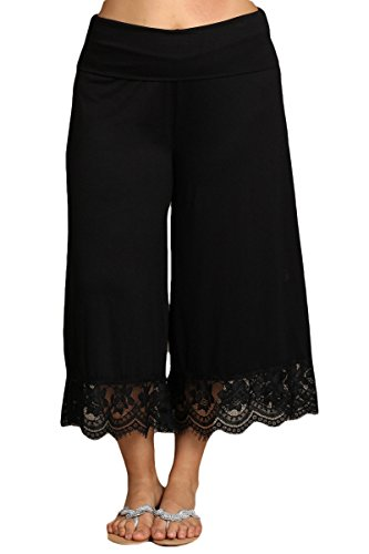 HEYHUN Plus Size Women's Solid Wide Leg Flared Capri Boho Gaucho Pants w/Lace Detail - Black - 1XL