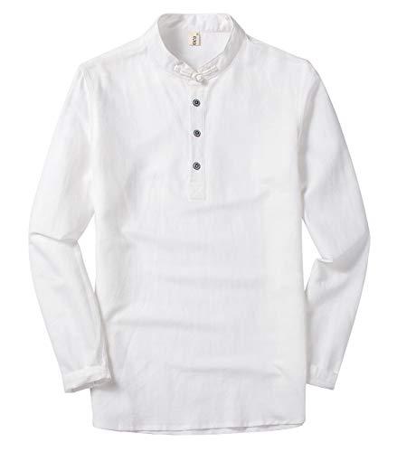 utcoco Men's Retro Chinese Style Short Sleeve Linen Henley Shirts (Medium, White-Long Sleeve)