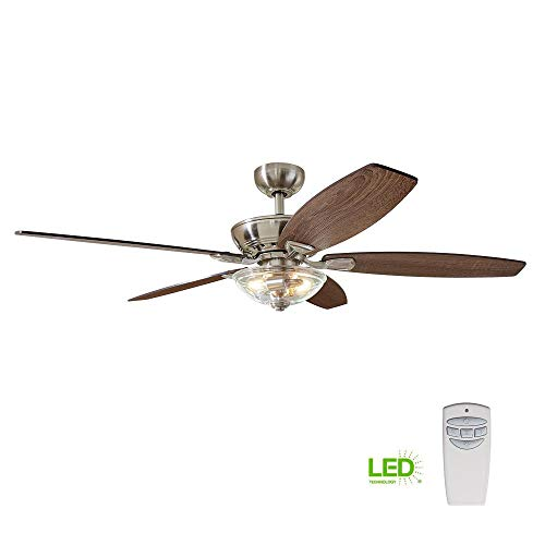 (Home Decorators Collection Connor 54 in. LED Brushed Nickel Dual-Mount Ceiling Fan with Light Kit and Remote Control)