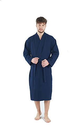 Waffle Robe Mens - Bagno Milano Mens Waffle-Knit Bathrobe -Turkish Cotton Lightweight Spa Robe, Large Navy Blue