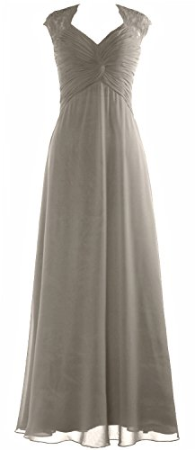 Formal Wedding Party MACloth Sleeve Prom Long Gown Silber Cap Women Lace Chiffon Dress 8vZCq