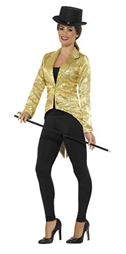 Smiffys Women's Sequin Tailcoat Jacket, Ladies, Gold, Large -
