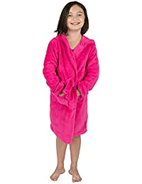Kids Robe Boys Girls Solid Hooded Fleece Sleep Robe Bathrobe (2 Toddler-14  Years 31d7faa81