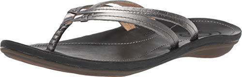 OLUKAI Women's U'I Sandal, Pewter/Black, 8 M US ()