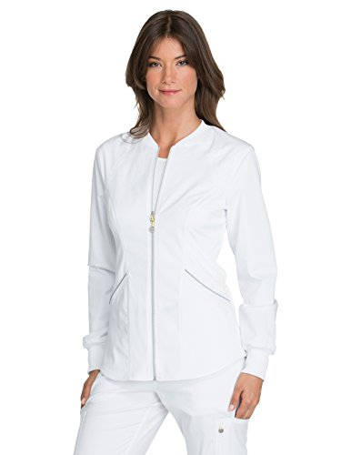 Cherokee Women's Luxe Sport Zip Front Warm-up Jacket, White, XL -