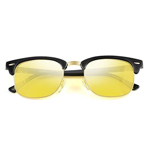GREY JACK Classic Polarized Half Frame Sunglasses Fashion Eyeglasses for Men Women Driving Black Frame Night Vision Lens