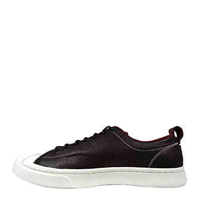 0f3bd185498 Converse Jack Purcell M-Series Tumbled Leather Ox Black Red Block Egret  Men s Lace up Casual Shoes  Amazon.co.uk  Shoes   Bags