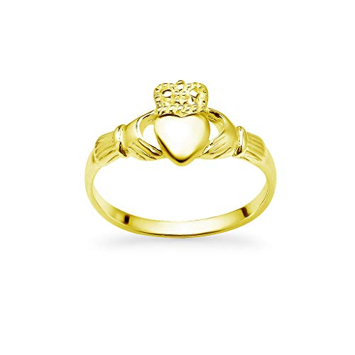 Yellow Gold Flashed 925 Sterling Silver Irish Claddagh Crown Love Heart Band | Celtic Friendship Promise Ring Size 7