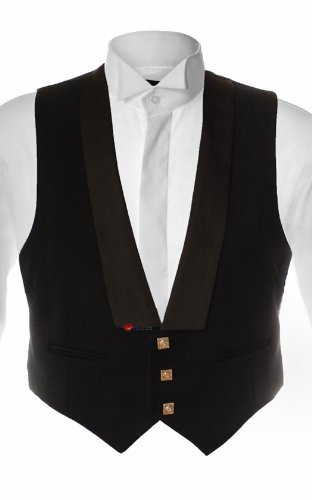 Prince Charlie Waistcoat in Black with 3 Buttons option 42 Regular
