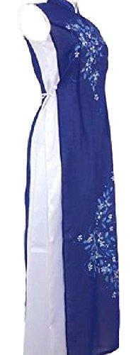 ベトナム 民族 衣装 アオザイ 襟付き 袖なし レディース パンツ 付き