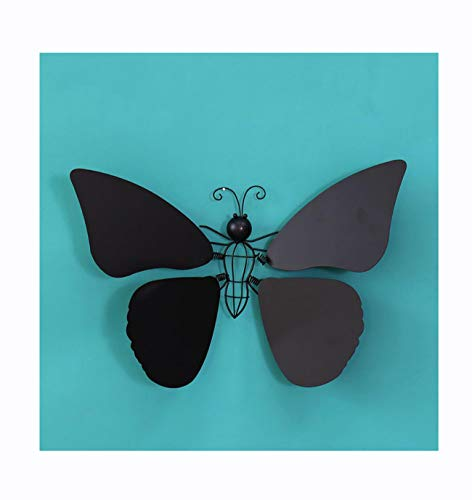 Nordic Wrought Iron Wall Hanging Wall Crafts Decoration in Dragonfly and Butterfly Shape,Black,Butterfly