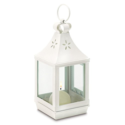 Mini Cutwork White Shabby Garden Outdoor Light Lantern by Gifts & Decor