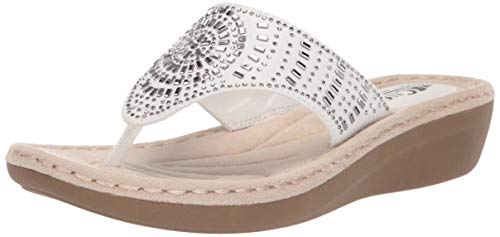 CLIFFS BY WHITE MOUNTAIN Women's Cienna Sandal, White/Fabric, 11 M US