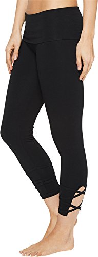 Hard Tail Women's Contour Rolldown Wrap Around Capri Leggings Black Pants