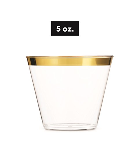 Small Gold Plastic Cups 5 oz 100 Pack Clear Plastic Cups Gold Rimmed Plastic Cups Fancy Disposable Cups Elegant Wedding…