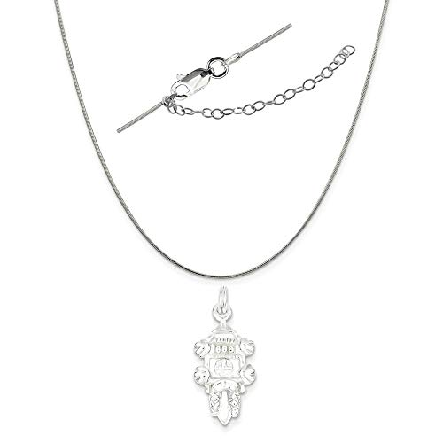 - Sterling Silver Polished Cuckoo Clock Charm on a 0.80mm Snake Chain Necklace, 18