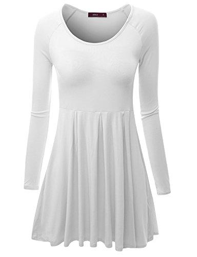 Doublju Long Raglan Sleeve Scoop Neck Flare Tunic Dress Top for Women with Plus Size White 2XL ()