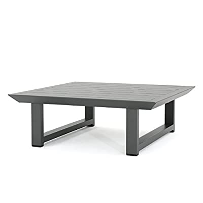 Christopher Knight Home 303977 Bonnie Outdoor Grey Finish Rust-Proof Aluminum Coffee Table - Brand name: Great Deal Furniture Made in China Assembly required - patio-tables, patio-furniture, patio - 31EV2w5es6L. SS400  -