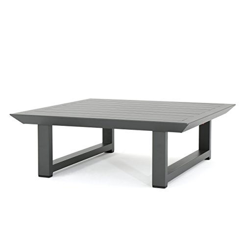 Great Deal Furniture 303977 Bonnie Outdoor Grey Finish Rust-Proof Aluminum Coffee Table