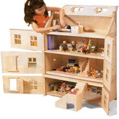 Plan Toys Victorian Dolls House With Furniture And Family Amazon Co