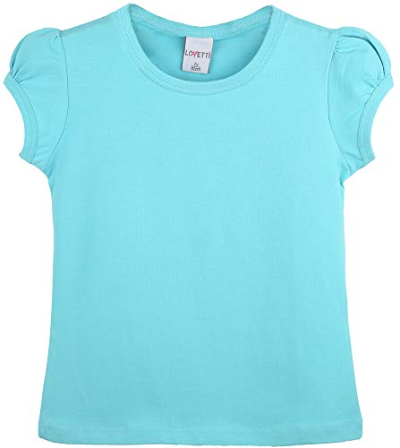 Lovetti Girls' Basic Short Puff Sleeve Round Neck T-Shirt 5 Turquoise