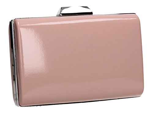 Prom Party Bag Oregon Faux Clutch Patent Box Swankyswans Pink Womens Ladies Leather aHw7q70