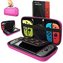Orzly Carry Case Compatible With Nintendo Switch - PINK Protective Hard Portable Travel Carry Case Shell Pouch for Nintendo Switch Console & Accessories