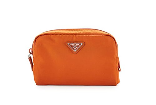 Prada Vela Square Nylon Beauty Bag Cosmetic Makeup Case - Orange Papaya Arancio by Prada
