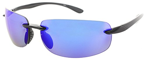 (Fiore Island Sol Polarized Sunglasses Rimless TR90 for Men and Women [Polarized Blue Revo] )
