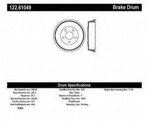 Centric Parts 122.61049 Brake Drum