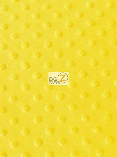 Hug-Z Dimple Dot Minky Fabric by The Yard DIY Baby Blankets Decor Clothing Snuggle (Yellow)